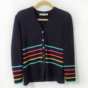 HP St. John Collection Striped Button Cardigan